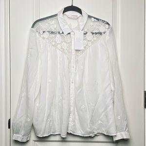 "Embroidered White Cotton ""Prairie"" Buttondown / XL"